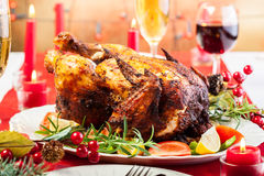 Baked chicken for Christmas dinner Royalty Free Stock Photos