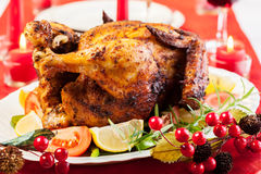 Baked chicken for Christmas dinner Royalty Free Stock Images