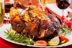 Baked chicken for Christmas dinner Stock Photo
