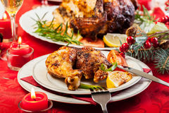 Baked chicken for Christmas dinner Stock Photography