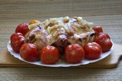 Baked chicken for Christmas dinner Stock Photos