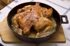 Baked chicken for Christmas dinner Royalty Free Stock Photography