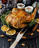 Baked chicken for Christmas or New Year Stock Image