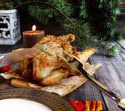Baked chicken for Christmas Stock Photos
