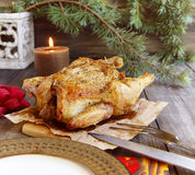 Baked chicken for Christmas Stock Image