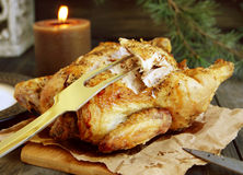 Baked chicken for Christmas Royalty Free Stock Photos