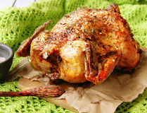 Baked chicken for Christmas Royalty Free Stock Images
