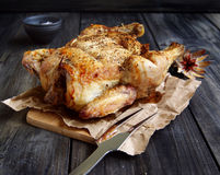 Baked chicken for Christmas Stock Images
