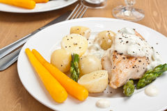 Baked chicken with creamy asparagus sauce Royalty Free Stock Photos
