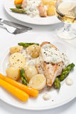 Baked chicken with creamy asparagus sauce Royalty Free Stock Photography