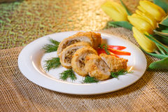 Baked chicken cutlet with cheese and mushrooms Royalty Free Stock Photo