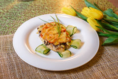 Baked chicken cutlet with cheese and mushrooms Royalty Free Stock Photos