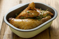 Baked chicken in dish Royalty Free Stock Image