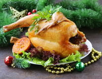 Baked chicken for festive dinner, Christmas Stock Photos