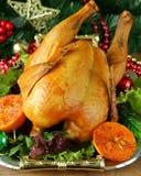 Baked chicken for festive dinner, Christmas Stock Photography