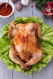Baked chicken for festive dinner. Stock Photography