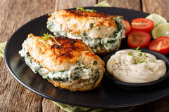 Baked Chicken fillet stuffed with cheese and spinach with sauce Stock Photography