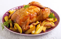 Baked chicken. And fried potato chips Royalty Free Stock Images