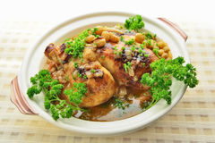 Baked chicken with grapes Royalty Free Stock Image