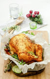 Baked chicken with herbs Stock Image