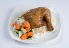 Baked chicken leg over rice Royalty Free Stock Image