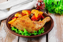Baked chicken leg Stock Photography