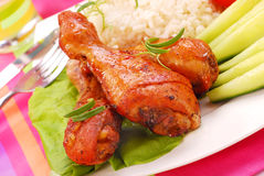 Baked chicken legs Royalty Free Stock Photos