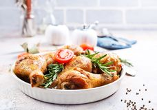 Baked chicken legs. With aroma spice and salt Royalty Free Stock Image