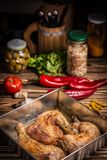 Baked chicken legs. Diet, meal stock image
