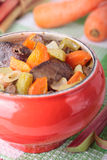 Baked chicken liver, carrots and rhubarb Stock Photos