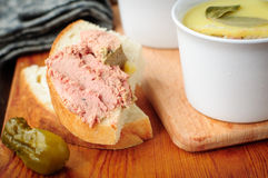 Baked Chicken Liver Pate on Toast Stock Photo
