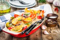Baked chicken with paprika, lemon and estragon Royalty Free Stock Photography