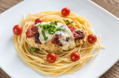 Baked chicken with parmesan and mozzarella Stock Photo