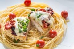 Baked chicken with parmesan and mozzarella Stock Photos