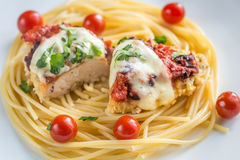 Baked chicken with parmesan and mozzarella Royalty Free Stock Photos