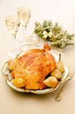 Baked chicken with pears Stock Photos