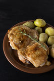 Baked chicken on the plate Stock Photos