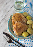 Baked chicken on the plate Royalty Free Stock Image