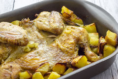 Baked chicken with potatoes Royalty Free Stock Photo