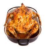 Baked chicken in a roasting pan Stock Photos