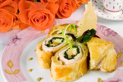 Baked chicken roll in  pastry Royalty Free Stock Photography