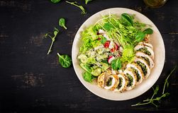 Baked chicken rolls with spinach and cheese on plate. Healthy lunch. stock image