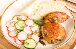Baked Chicken Salad and Bread Stock Photography