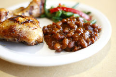 Baked chicken with sides Royalty Free Stock Images