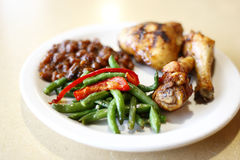 Baked chicken with sides Royalty Free Stock Photos