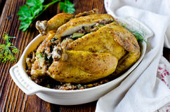Baked chicken stuffed with buckwheat Royalty Free Stock Image