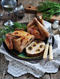Baked chicken stuffed pancakes with mushrooms. Royalty Free Stock Photos