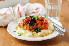 Baked Chicken Thigh with Cherry Tomatoes, Capsicums, Black Olive Stock Photos