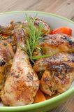 Baked chicken with thyme Stock Photos