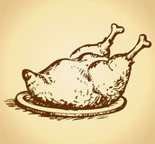 Baked chicken. Vector drawing Stock Images